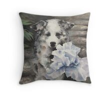 Pepper and blue iris Throw Pillow