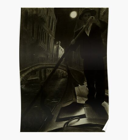 Venice by Gondola - Charcoal on Paper Poster
