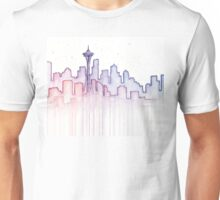 Seattle Skyline Watercolor Silhouette Unisex T-Shirt