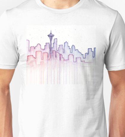 Seattle Skyline Watercolor Silhouette Unisex T-Shirt