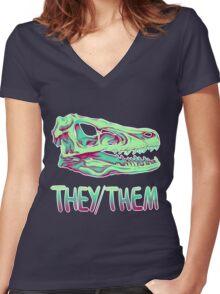 Velociraptor Skull Women's Fitted V-Neck T-Shirt