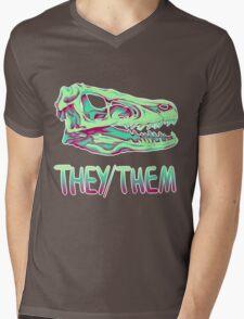 Velociraptor Skull Mens V-Neck T-Shirt