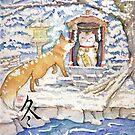 Fox with maneki neko shrine money cat in snow by meomeo