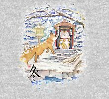 Fox with maneki neko shrine money cat in snow T-Shirt