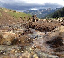 Flowing Creek Beneath the Mountains  by JULIENICOLEWEBB