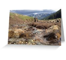 Flowing Creek Beneath the Mountains  Greeting Card