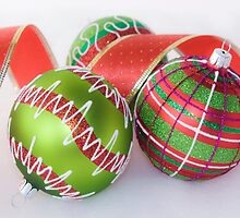 Green Baubles and Red ribbon by Victoria Bennett
