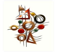 Abstract Shapes Oil Painting #1 Art Print