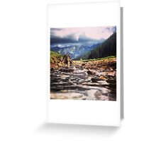 Creek Flowing Over River Rocks Beneath The Mountains Greeting Card