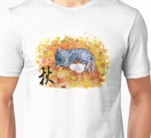Kitty cat taking a nap with a bunny rabit on autum leaves Unisex T-Shirt