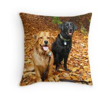Raleigh and Toby in Fall Throw Pillow