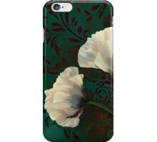 Poppies and Verdigris, dramatic cream poppy floral art iPhone Case/Skin
