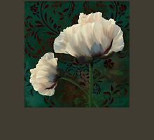 Poppies and Verdigris, dramatic cream poppy floral art Womens Fitted T-Shirt
