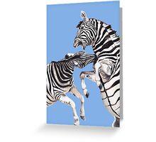 Zebra's Fighting Blue/Purple Greeting Card