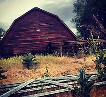 Distressed Red Barn  by JULIENICOLEWEBB
