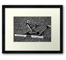 Polo mallets on the field Framed Print