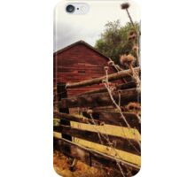Weathered Fence Posts with Rustic Red Barn iPhone Case/Skin
