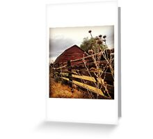 Weathered Fence Posts with Rustic Red Barn Greeting Card