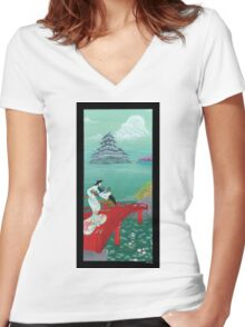 Japanese Woman - Castle Women's Fitted V-Neck T-Shirt