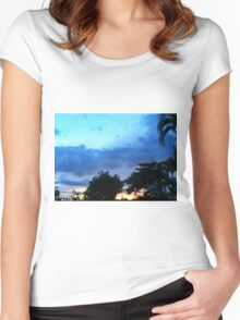 Countryside sunset Women's Fitted Scoop T-Shirt