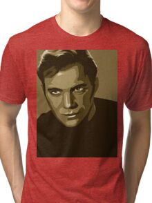 Captain Kirk stylized in gold (Star Trek) Tri-blend T-Shirt