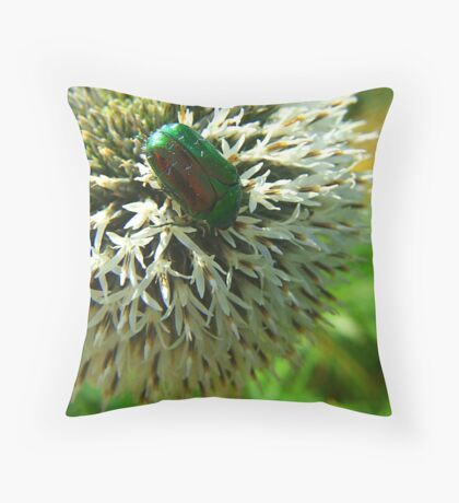 Scarab Green Throw Pillow