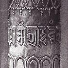 Prayer Wheel, Tsuglagkang Complex, McLeod Ganj, HP, India, Ink Drawing by RIYAZ POCKETWALA