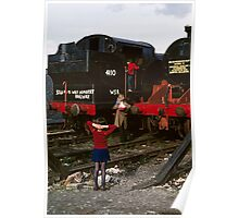 Discarded steam locos in Barry Scrapyard, UK, 1970s Poster