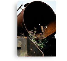 Discarded steam locomotive, UK, 1970s. Canvas Print