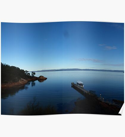 Bay, inlet with boat Poster