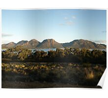 Mountain range with bay Poster