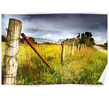 Fence Along a Rural Road Poster