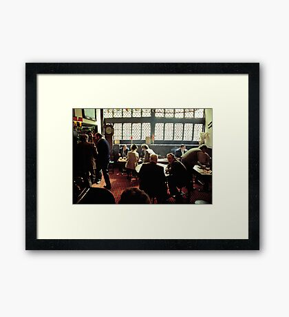 Busy lunch-time pub scene, Aylesbury, UK, 1980s Framed Print