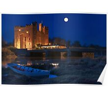 Irish Castle, Bunratty Castle at Night, County Clare, Ireland Poster