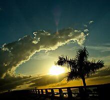 Sanibel Bridge Sunset  by Sadie Hughes
