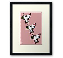 THREE PEACE DOVES Framed Print