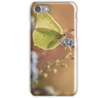 Yellow butterfly on forget me not flowers iPhone Case/Skin