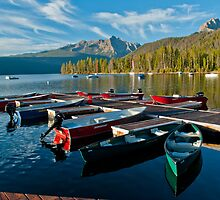 Mountain Lake Boat Dock by Jim Terry