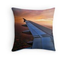 CAPTURED FROM INSIDE AIRPLANE WINDOW VIEW-WING OF AN AIRPLANE-JOURNAL-BOOKS-PILLOWS-TOTE BAG-CARD-CELLPHONE COVERS-PICTURE Throw Pillow