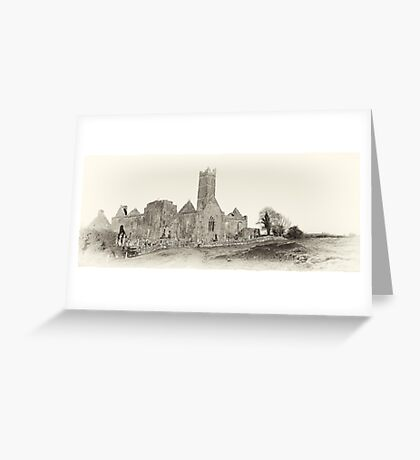 Quin Abbey, Panoramic, County Clare, Ireland Greeting Card
