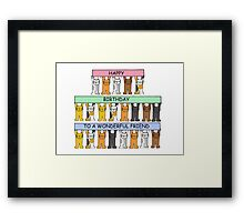 Cats celebrating the birthday of a wonderful friend. Framed Print
