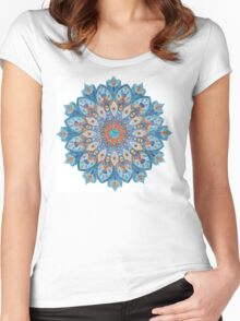 Coloring: An indian motive, Mandala  Women's Fitted Scoop T-Shirt