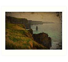 Cliffs of Moher, Grunge landscape, county clare, ireland Art Print