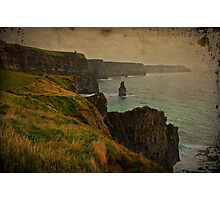Cliffs of Moher, Grunge landscape, county clare, ireland Photographic Print