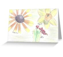 flowers - coloured pencil Greeting Card