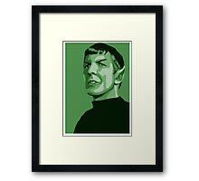 First Officer Spock stylized in green Star Trek tos Framed Print