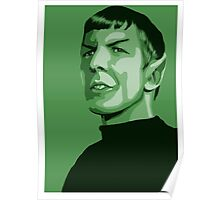 First Officer Spock stylized in green Star Trek tos Poster