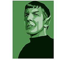 First Officer Spock stylized in green Star Trek tos Photographic Print