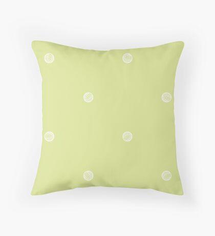 Green Polka Dots of Yarn Throw Pillow