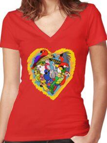 I heart parrots cute cartoon Women's Fitted V-Neck T-Shirt